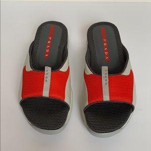 PRADA Gray Red & Beige Mesh Slip On Sandals
